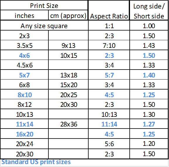 Photography Standard Sizes Standard Size in Inches