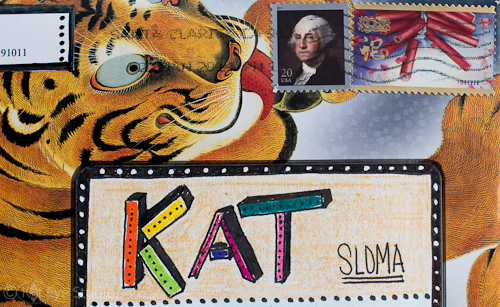 Tiger Licking Stamp Envelope